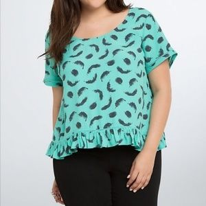 Torrid Mint Green Top With Feathers Pleated Hem